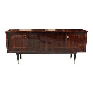 Beautiful French Art Deco Macassar Exotic Dark Grain Sideboard / Credenza / Buffet Circa 1940s