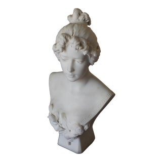 Late 19th Century Beaux Arts White Carrara Marble Female Bust by Antonio Piazza For Sale