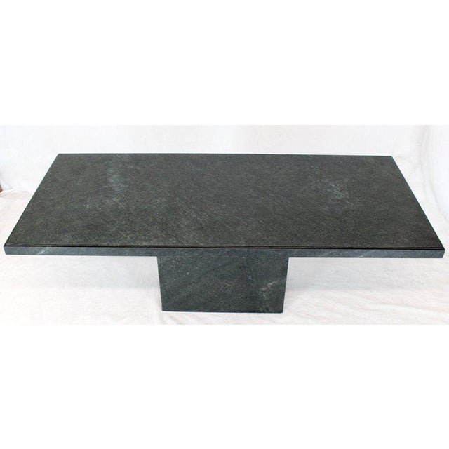 Rectangular Single Marble Pedestal and Top Dining Conference Table Deep Green For Sale - Image 10 of 13