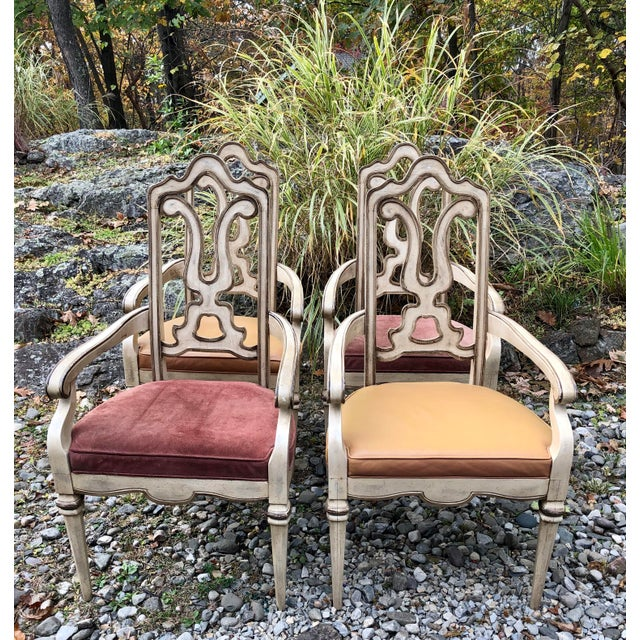 Pizzazz! Set 4 Vintage Italian Carved Wooden Arm Chairs with cream toned antiqued painted finish. Two with leather seats,...