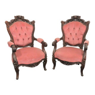 Victorian Rosewood Rose Carved Arm Chairs - a Pair For Sale