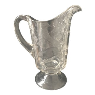 """19th Century Victorian EAPG """"Squirrel in Bower"""" Glass Pitcher"""