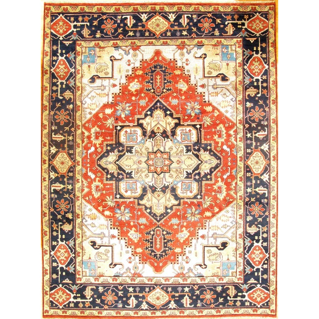 Anglo-Indian Pasargad Ny Serapi Hand-Knotted Rug - 9' X 12' For Sale - Image 3 of 3