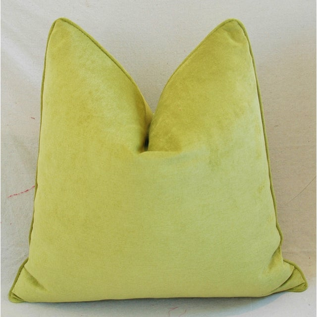 "Ultra Soft Apple Green Velvet Feather/Down Pillows 24"" Square - Pair For Sale In Los Angeles - Image 6 of 10"