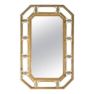 1970s Bamboo Octagon Wall Mirror