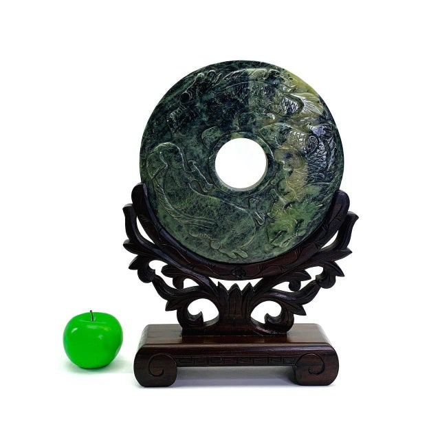 """Jade Chinese Relief-Carved Dragon & Phoenix Jade Bi Disc on Custom Rosewood Stand 10"""" For Sale - Image 8 of 8"""