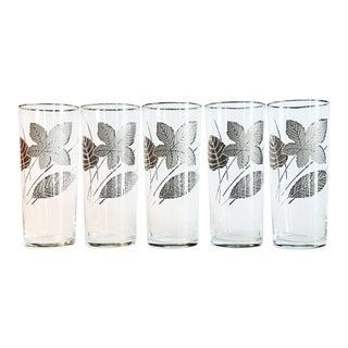 Platinum Leaf Highball Glasses - Set of 5 For Sale
