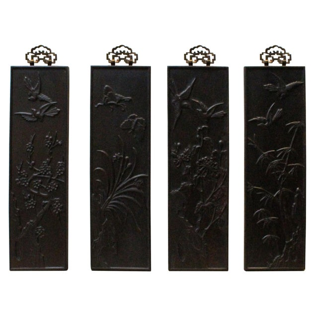 Brown Chinese Set of 4 Birds & Flowers Wood Decor Wall Panels For Sale - Image 8 of 8