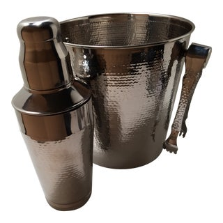 Mid-Century Modern Hammered Stainless Steel Champagne/Ice Bucket Tongs & Cocktail Shaker With Mirror Body Finish by Oggi
