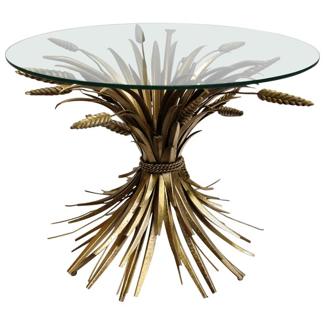 Vintage French Sheaf of Wheat Glass Top and Metal Side Table For Sale