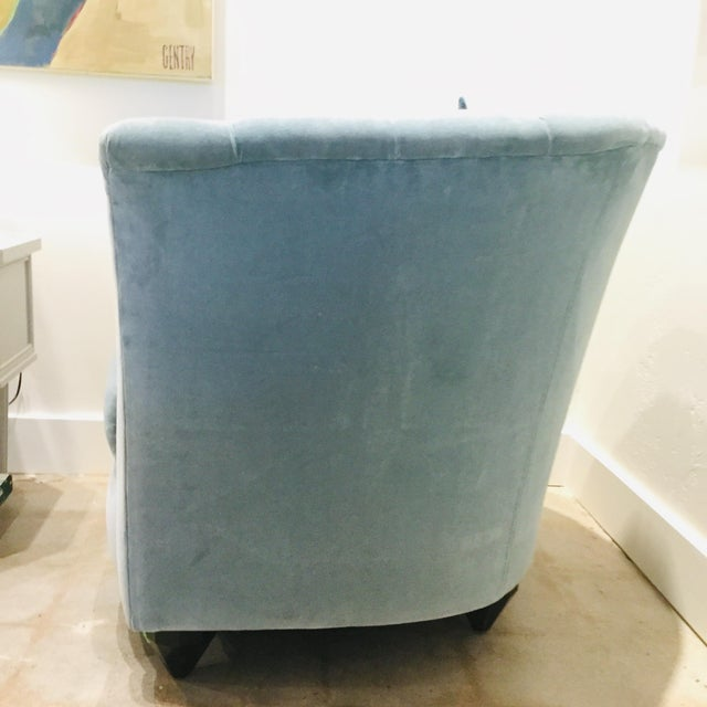 Blue Velvet Chairs- A Pair For Sale - Image 10 of 13
