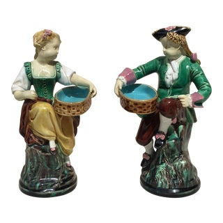 19th Century Victorian Majolica Figural Salt Cellars Minton - a Pair For Sale