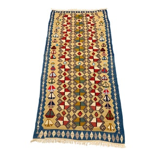 1980s Vintage Handmade Geometric Design Kilim Rug - 4′ × 10′ For Sale