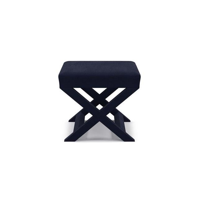 X Bench in Navy Velvet For Sale - Image 4 of 4