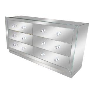Custom Beveled Front Mirrored Dresser For Sale