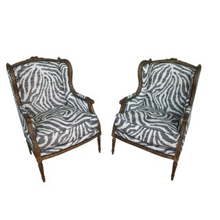 19th Century Louis XVI Carved Wood Zebras Print Bergere Chairs - a Pair For Sale