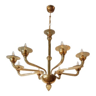 Mid-century modern light brown Murano 8-light chandelier, att to Venini For Sale