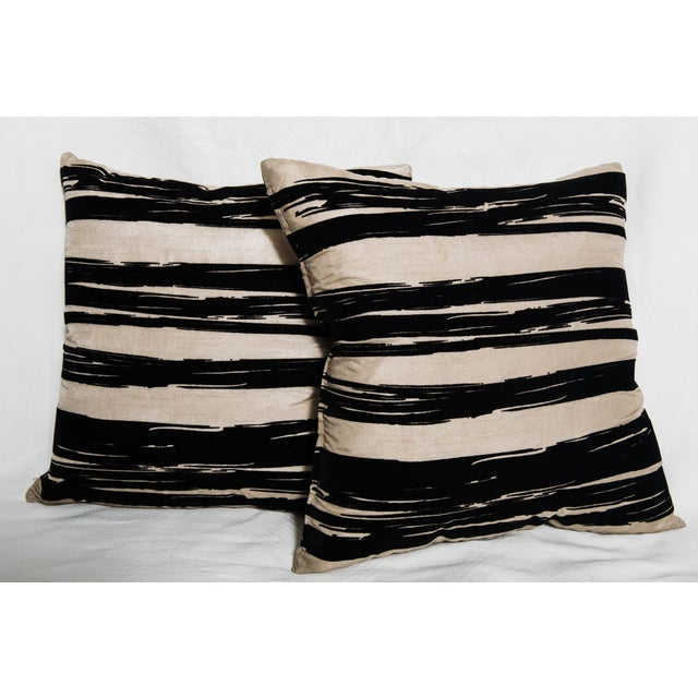 Contemporary Raw Silk Pillows-A Pair - Image 2 of 4
