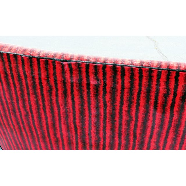 Red Italian Gio Ponti Style Settee For Sale - Image 8 of 11