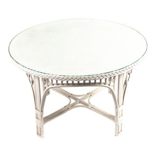 Custom Rattan Glass-top Bielecky Brothers Table For Sale