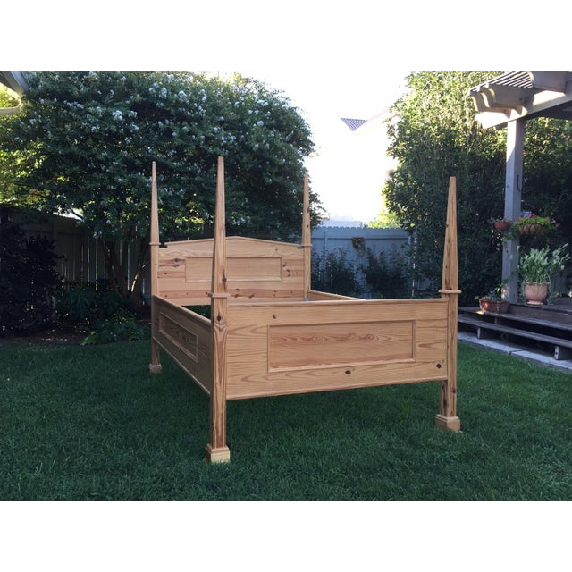 1990s Vintage Custom-Built Natural Pine Queen Bed For Sale - Image 10 of 10