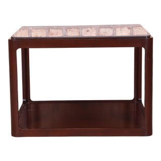 Dunbar Modern Walnut Two-Tier Cocktail Table For Sale