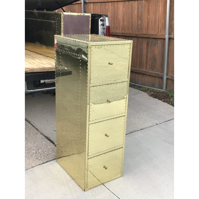 Mid-Century Modern 1970s Mid Century Modern Brass Studded Four Drawer Filing Cabinet For Sale - Image 3 of 12