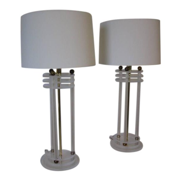 Brass and Lucite Column Table Lamps For Sale