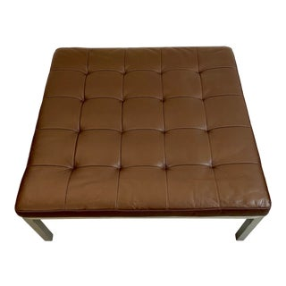 Room & Board Chocolate Brown Leather Ottoman with Brushed Steel Base For Sale