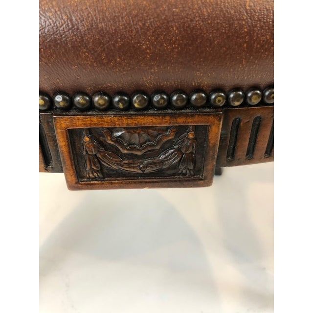 Caned Cameo Back Armchair With Leather Seat For Sale - Image 10 of 12