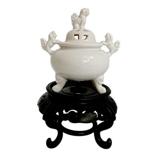 Chinoiserie Blanc De Chine Foo Dog Porcelain Incense Burner For Sale