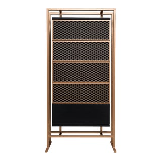 Modern Highboy Dresser in Metal and Black Oak For Sale