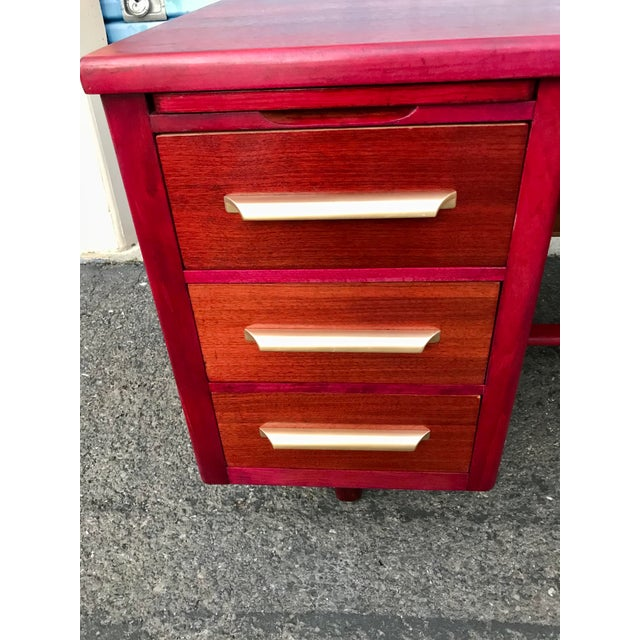 Wood 1950s Refinished 'Painted Lady' Pontoon Base Executive Desk For Sale - Image 7 of 13
