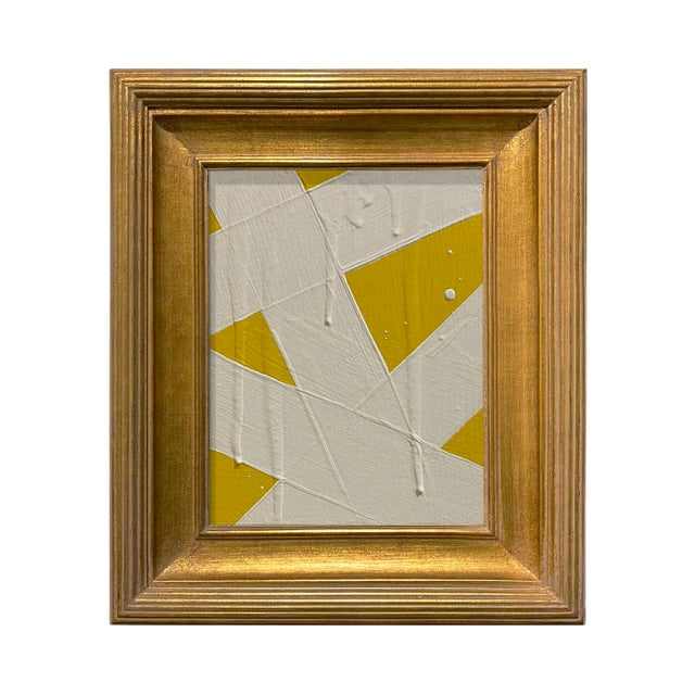 Ron Giusti Mini Abstract Yellow and Cream Acrylic Painting, Framed For Sale - Image 4 of 4