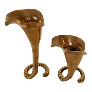 1940s Hollywood Regency Calle Lily Brass Candle Holders - a Pair