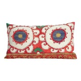 Image of XL Vintage Embroidered Tashkent Down Feather Pillow For Sale