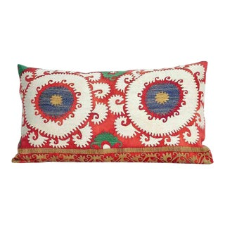 XL Vintage Embroidered Tashkent Down Feather Pillow For Sale