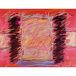 Bold Pink & Black Abstract Pastel Drawing For Sale