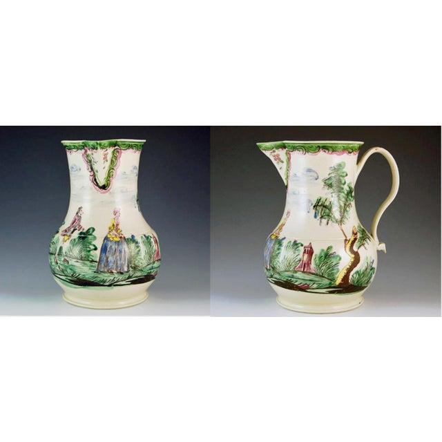 Antique English Saltglaze Cider Jug with Figural Polychrome Decoration, Mid-18th Century. For Sale - Image 9 of 11