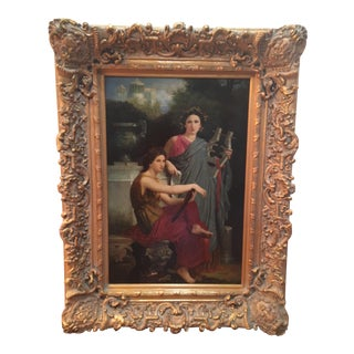 """Vintage """"Two Women"""" Oil Painting For Sale"""