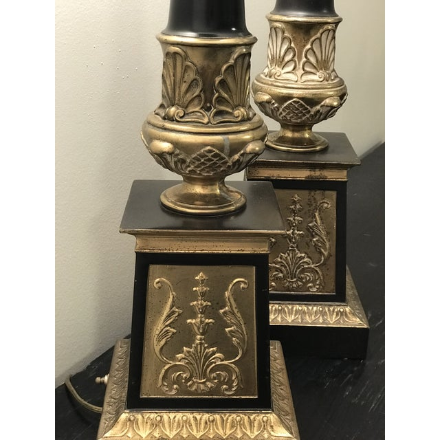 Hollywood Regency Hollywood Regency Neoclassical Style Brass and Black Lamps - a Pair For Sale - Image 3 of 7