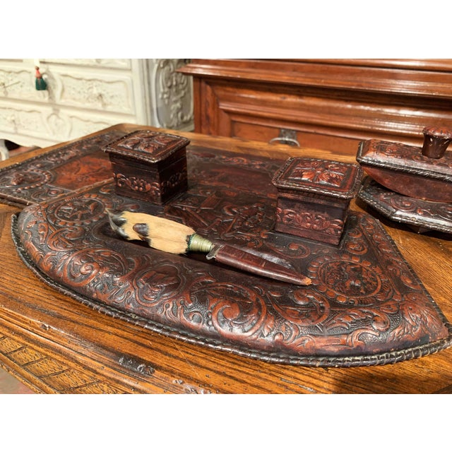 Mid 19th Century 19th Century French Gothic Embossed Leather Five-Piece Desk Set For Sale - Image 5 of 13