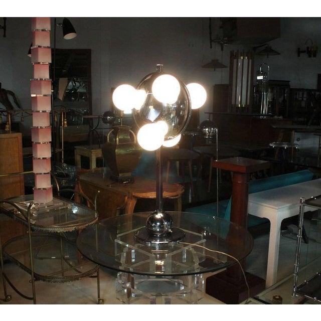 Mid-Century Modern Unusual Six Globe Chrome Disc Mid Century Modern Table Lamp Symmetrical For Sale - Image 3 of 7