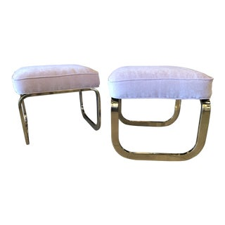 Pink Velvet Brass Stools Benches Ottomans - A Pair