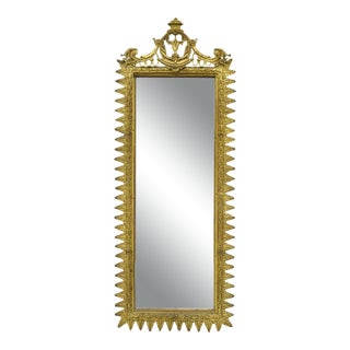 Vintage French Victorian Style Brass Bronze Filigree Narrow Mirror For Sale