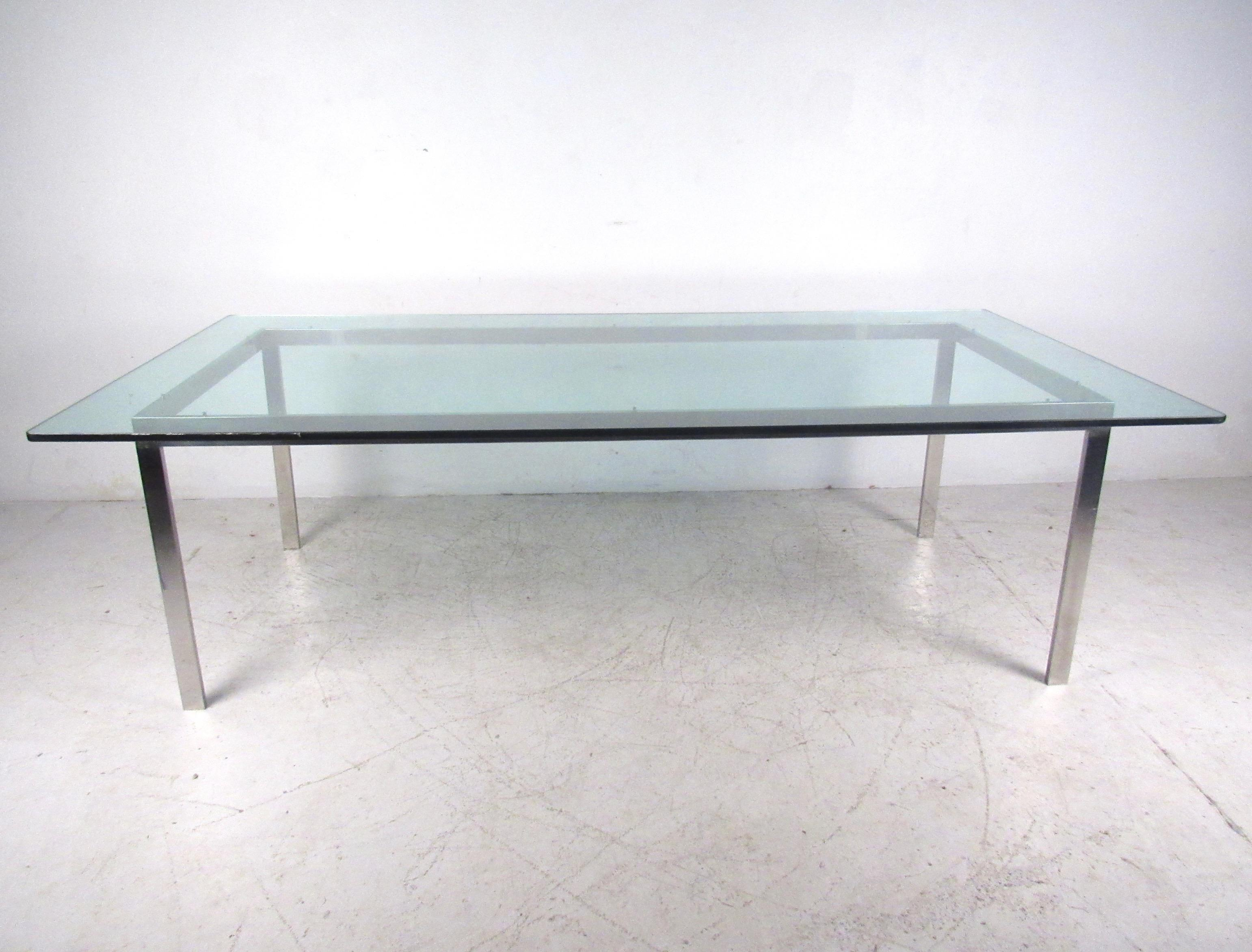 Mid Century Chrome And Glass Conference Table   Image 2 Of 11