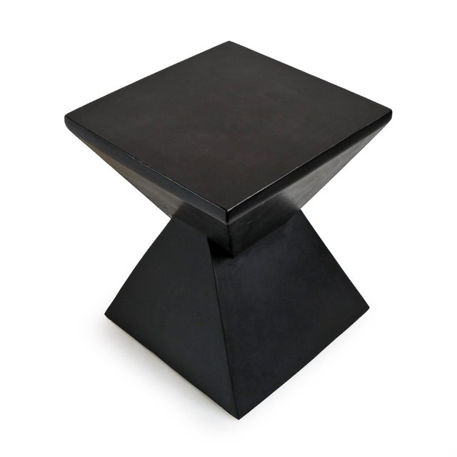 Modern black prism outdoor side table. Created from solid cement resin mixture. Prism lightweight classic bold black...