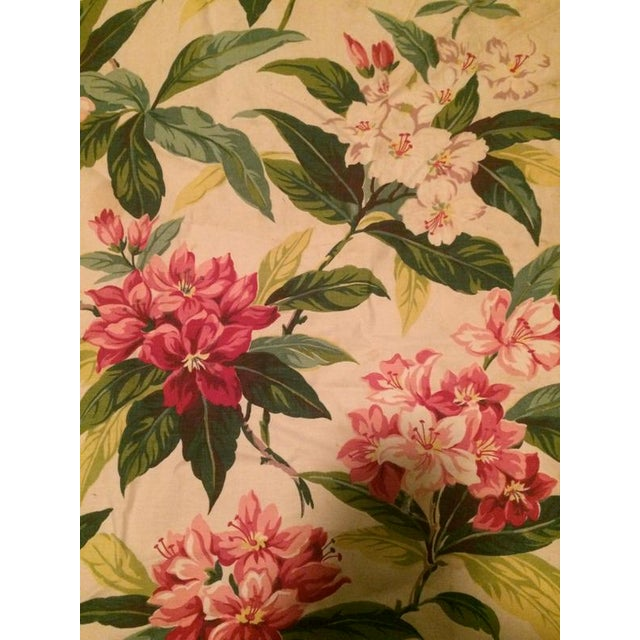 1940s Tropical Print Pink Floral Upholstery Fabric Remnant Chairish