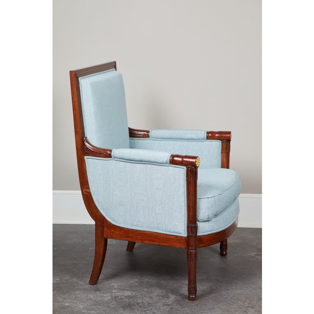 Empire Pair of Empire Mahogany Bergeres Chairs For Sale - Image 3 of 8