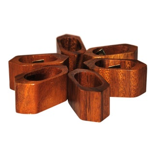 Teak Hexagon Napkin Rings - Set of 6 For Sale